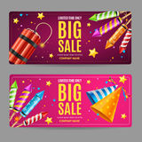 Big Sale Menu Option Banner Card Set. Vector Royalty Free Stock Photo
