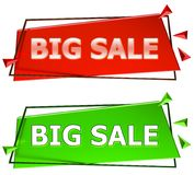Big sale sign. Big sale modern 3d sign isolated on white background,color red and green Stock Photo