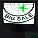 Big Sale On Monitor Shows Big Promotions Stock Photos