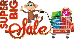 Big sale. Monkey with purchases. Royalty Free Stock Photo