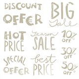 Big sale monochrome text set Stock Photo