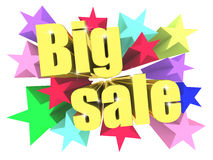 Big Sale motto. Golden text with vivid stars Stock Photography