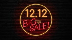 12.12 BIG SALE neon light on wall. Sale banner blinking neon sign style for promo video. concept of sale and clearance