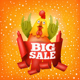 Big sale new year concept card with rooster character Royalty Free Stock Photography