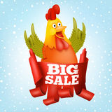Big sale new year concept card with rooster character Stock Photography