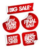 Big sale new year offers set stickers. Holiday special offers Stock Photography