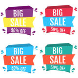 Big sale 50% off banners with ribbons, collection. Abstract colorful discount banners set Stock Photography