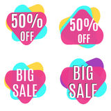 Big sale and 50% off banners set / collection. Set of discount banners for market Stock Photo