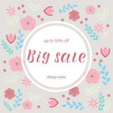 BIG SALE 50% OFF. Background loyout. Lettering design with flower, frame for banner, flyer, invitation, poster, greeting card, discount. Vector illustration EPS vector illustration