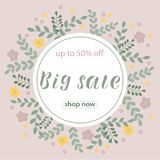 BIG SALE 50% OFF Lettering design. BIG SALE 50% OFF background loyout. Lettering design with flower, frame for banner, flyer, invitation, poster, greeting card vector illustration