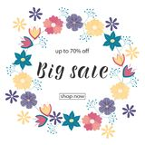 BIG SALE 70% OFF Lettering design. BIG SALE 70% OFF background loyout. Lettering design with flower, frame for banner, flyer, invitation, poster, greeting card vector illustration