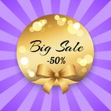 Big Sale 50 Off Present Label Ribbon with Rays Stock Photos