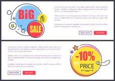 Big Sale -10 Off Price Web Vector Illustration. Big sale -10 off price web pages, circles with headlines inside, icons of stars and presents, text sample and two stock illustration