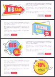 Big Sale and 10 Off Price Web Vector Illustration. Big sale and -10 off price, web pages with yellow and blue stickers with stars, text and buttons saying read vector illustration