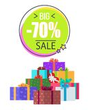 Big Sale -70 off Promotion Vector Illustration. Big sale -70 off promotion on white background. Vector illustration with discount clearance and gift boxes in royalty free illustration