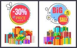 Big Sale -30 Off Round Labels with Gift Icons Set. Big sale -30 off round labels with gift icons and pile of present boxes in decorative wrapping papers isolated Stock Photos