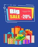 Big Sale -20 off Sign Banner Vector Illustration. Big sale -20 off sign surrounded by frame decorated with doodles and drawn star. Vector illustration with Stock Image