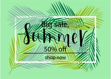 BIG SALE 50% OFF. SUMMER Lettering design. BIG SALE 50% OFF. SUMMER background loyout. Lettering design with flower, frame for banner, flyer, invitation, poster stock illustration