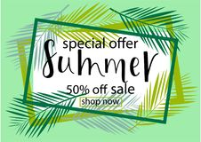 BIG SALE 50% OFF. SUMMER Lettering design. BIG SALE 50% OFF. SUMMER background loyout. Lettering design with flower, frame for banner, flyer, invitation, poster royalty free illustration