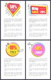 Big Sale -20 and -10 Off Vector Illustration. Big sale -20 and -10 off sale, creative placards with stickers in form of diamond, bomb, circle and rectangle Stock Photos