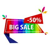 Big sale offer rainbow tags. Big sale tag. Abstract triangle red price sticker for discount decoration. Shopping geometric banner Royalty Free Stock Image