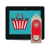 Big sale online technology tablet tag price basket Royalty Free Stock Images