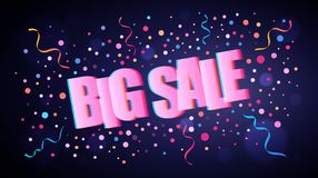 Big Sale overlapping festive lettering with colorful round confetti stock illustration