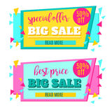 Big Sale paper banner. Sale background. Sale tag. Sale poster. Sale vector. Special Offer. Shopping Banner Template. 50% off.  Stock Photography