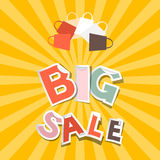 Big Sale Paper Title with Shopping Bags Royalty Free Stock Images