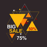 Big sale 50, 75 percent. Abstract background with hipster triangles pattern.Big sale 50, 75 percent. Seasonal discounts and hot deals. Clearance vector illustration