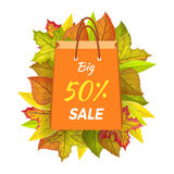 Big Sale 50 Percent. Autumn Paper Bag Label Vector. Big sale 50 percent. Autumn sale paper bag label template. Fall sale, autumn leaves on background, discount vector illustration