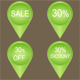 Big sale 30 percent badge. In green. Vector illustration Royalty Free Stock Photos