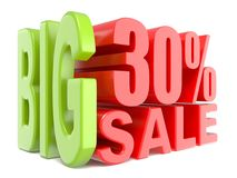 Big sale and percent 30% 3D words sign Royalty Free Stock Images