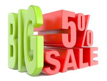 Big sale and percent 5% 3D words sign. 3D render illustration isolated on white background vector illustration