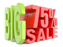 Big sale and percent 75% 3D words sign Stock Photos