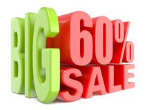 Big sale and percent 60% 3D words sign. 3D render illustration isolated on white background Stock Images
