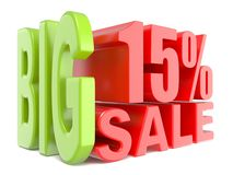 Big sale and percent 15% 3D words sign Royalty Free Stock Photo