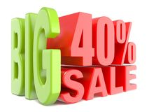 Big sale and percent 40% 3D words sign. 3D render illustration isolated on white background Royalty Free Stock Image