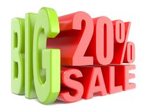 Big sale and percent 20% 3D words sign. 3D render illustration isolated on white background Stock Photo