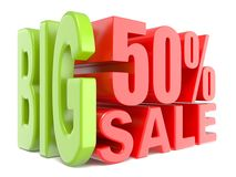 Big sale and percent 50% 3D words sign. 3D render illustration isolated on white background Royalty Free Stock Image