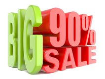 Big sale and percent 90% 3D words sign Stock Photo