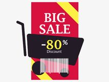 Big sale 80 percent discount. Barcode and shopping cart. Trolley icon. Black friday. Vector. Illustration vector illustration