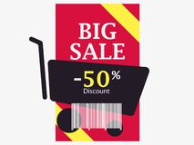 Big sale 50 percent discount. Barcode and shopping cart. Trolley icon. Black friday. Vector. Illustration royalty free illustration
