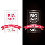 Big Sale with 50 percent discount and big offer with shiny red ribbon. Illustration set for flyer, website or banner. Set of design for white light and dark Royalty Free Stock Photos