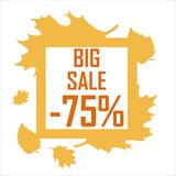 Great autumn discount for 75 percent. A big sale of 75 percent in the fall theme Royalty Free Stock Image