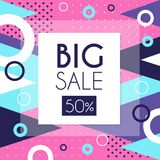 Big sale 50 percent off banner template design, seasonal discount, advertising poster with geometric shapes vector. Illustration, web design Royalty Free Illustration