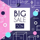 Big sale 50 percent off banner template design, seasonal discount, advertising poster with geometric shapes vector. Illustration, web design Stock Illustration