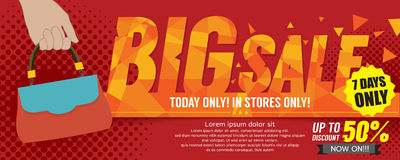 Big Sale 50 Percent 6250x2500 pixel Banner. Royalty Free Stock Images