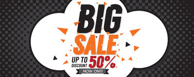 Big Sale 50 Percent 6250x2500 pixel Banner. Royalty Free Stock Photography
