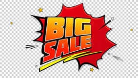 Big sale pop art splash background, explosion in comics book style. Advertising signboard, price reduction with halftone Stock Photos